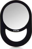 Evolize Onbreekbare Spiegel met Handvat - Ø 16,5 cm - Ophangbaar - Rond - Handspiegel - Kappersspiegel - Make up - Afmeting: 28 x 19 cm - Zwart