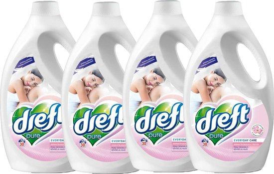 Dreft - Vloeibaar wasmiddel - Pure Sensitive - Gevoelige huid - 4 x 1,65 L (120 wasbeurten) - Voordeelverpakking
