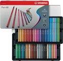 STABILO Pen 68 - Premium Viltstift - 50 Stuks Metalen Etui - Met 47 Verschillende Kleuren