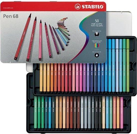 Afbeelding van STABILO Pen 68 - Premium Viltstift - 50 Stuks Metalen Etui - Met 46 Verschillende Kleuren