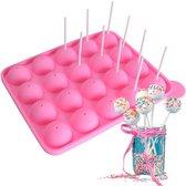 FLOOQ - Cakepop - Bakvorm - Siliconen - 20 Cake Pops - Roze - Inclusief stokjes