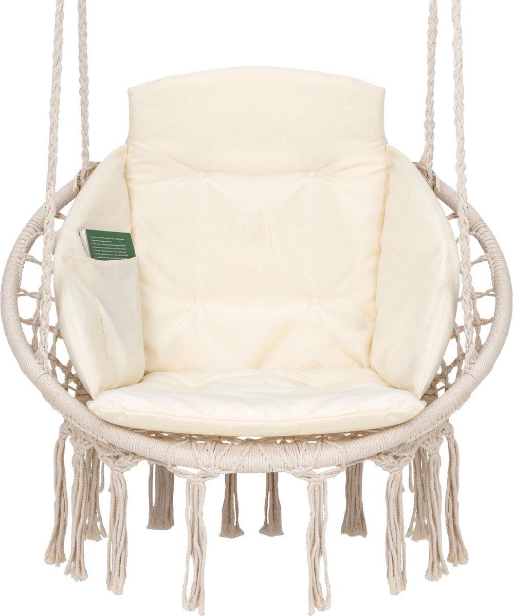 Hangstoel voor Binnen & Buiten. Met Kussen, Boekenvak & Beschermhoes. Macrame Korfhangstoel voor vol