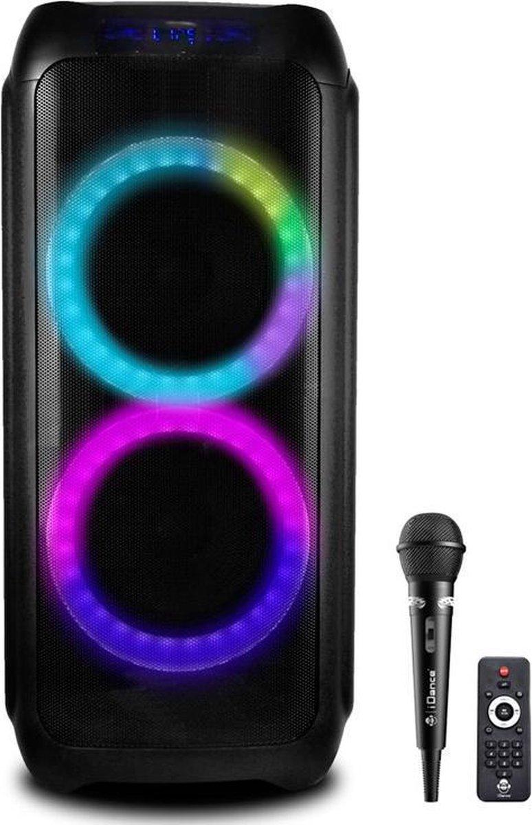 iDance DJX800 karaoke partybox met bluetooth, discoverlichting en opnamefunctie