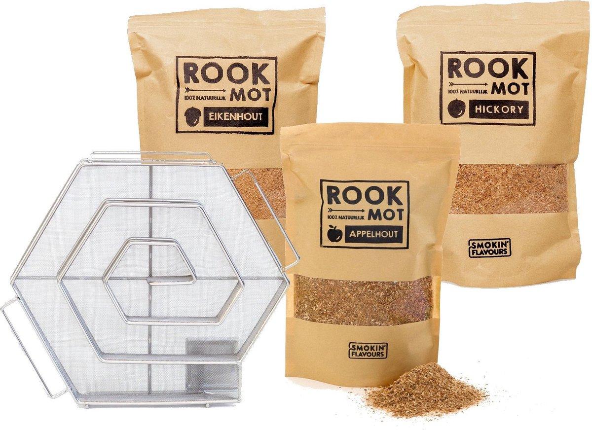 Koudrook pakket - Koud rook Generator + Rookmot Appel - Hickory - Eik 1,5Kg