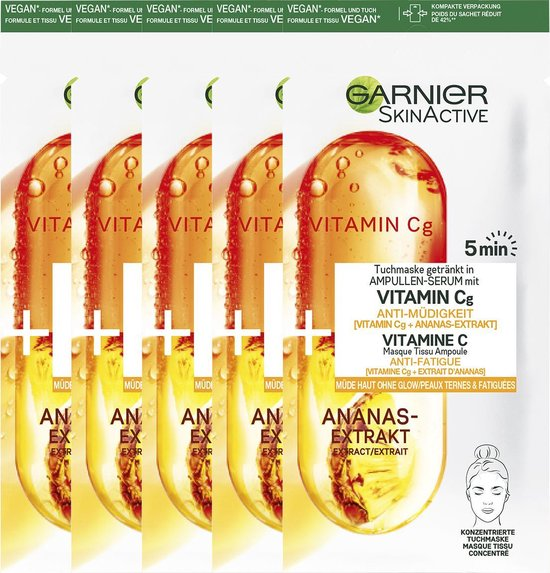Garnier SkinActive Ampul Sheet Mask Met Ananas & Vitamine C Serum - 5 Stuks
