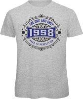 1958 The One And Only | Feest Kado T-Shirt Heren - Dames | Antraciet - Donker Blauw | Perfect Verjaardag Cadeau Shirt | Grappige Spreuken - Zinnen - Teksten |