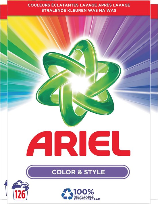 Ariel Kleur & Stijl Wasmiddel - Voordeelverpakking 3 x 42 Wasbeurten - Waspoeder