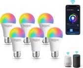 Aigostar Smart LED Bulb WKD - E27 Smart lamp - 9W - RGB+CCT - Appbesturing - iOS & Android - WiFi - Smart Home - Set van 6 stuks