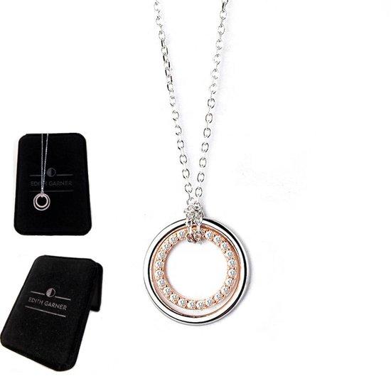 EDITH GARNER Cadeautje voor Vrouw - Cadeau voor Haar Ketting Dames in geschenkdoos | 925 Zilver Twee Cirkels Ketting met Hanger | Mama - Sieraden Collier - Halsketting