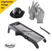 Mandoline - Keukensnijder – Groentesnijder – Incl. Anti Snij Handschoenen en Snij Hulp - Qwality