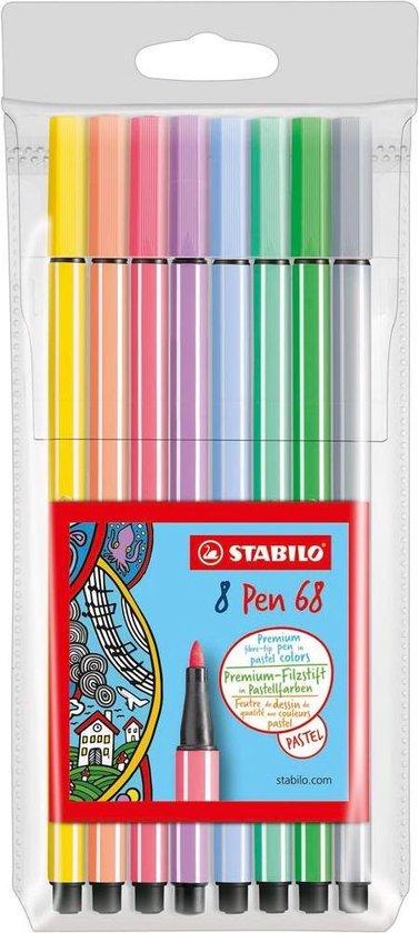 STABILO Pen 68 - Premium Viltstiften - Speciale Etui - Met 8 Pastelkleuren