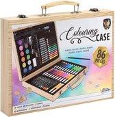 Tekendoos 86-delig | creativiteitsdoos voor kinderen - kleuren - schminken - tekenen - Knutselen | Grafix