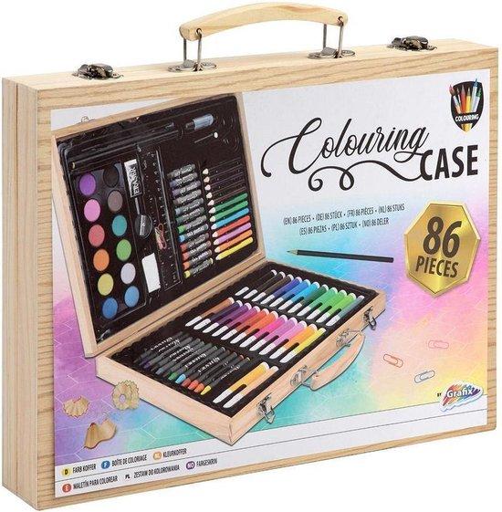 Tekendoos 86-delig   creativiteitsdoos voor kinderen - kleuren - schminken - tekenen - Knutselen   Grafix