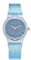 Glitter horloge - blauw - kinderen/ tieners - 33 mm - I-deLuxe verpakking