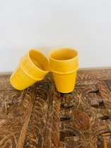 Handgemaakte Marokkaanse Mok | Geel | Set van 2 | Moderne Beldi Mok