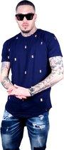 heren casual blauw tshirt XXL