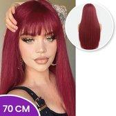 SassyGoods® Rode Pruik - Pruiken Dames - Wig - Pruik - Lang Steil Haar - Rood - 70 cm