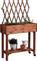 Moestuinbak moestuintafel oppottafel kweektafel plantentafel met trosondersteuning 79x28x130cm - bruin