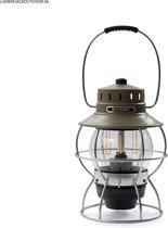 Barebones Railroad Lantern olijf oplaadbare en dimbare ledlamp - tafellamp - hanglamp - tentlamp
