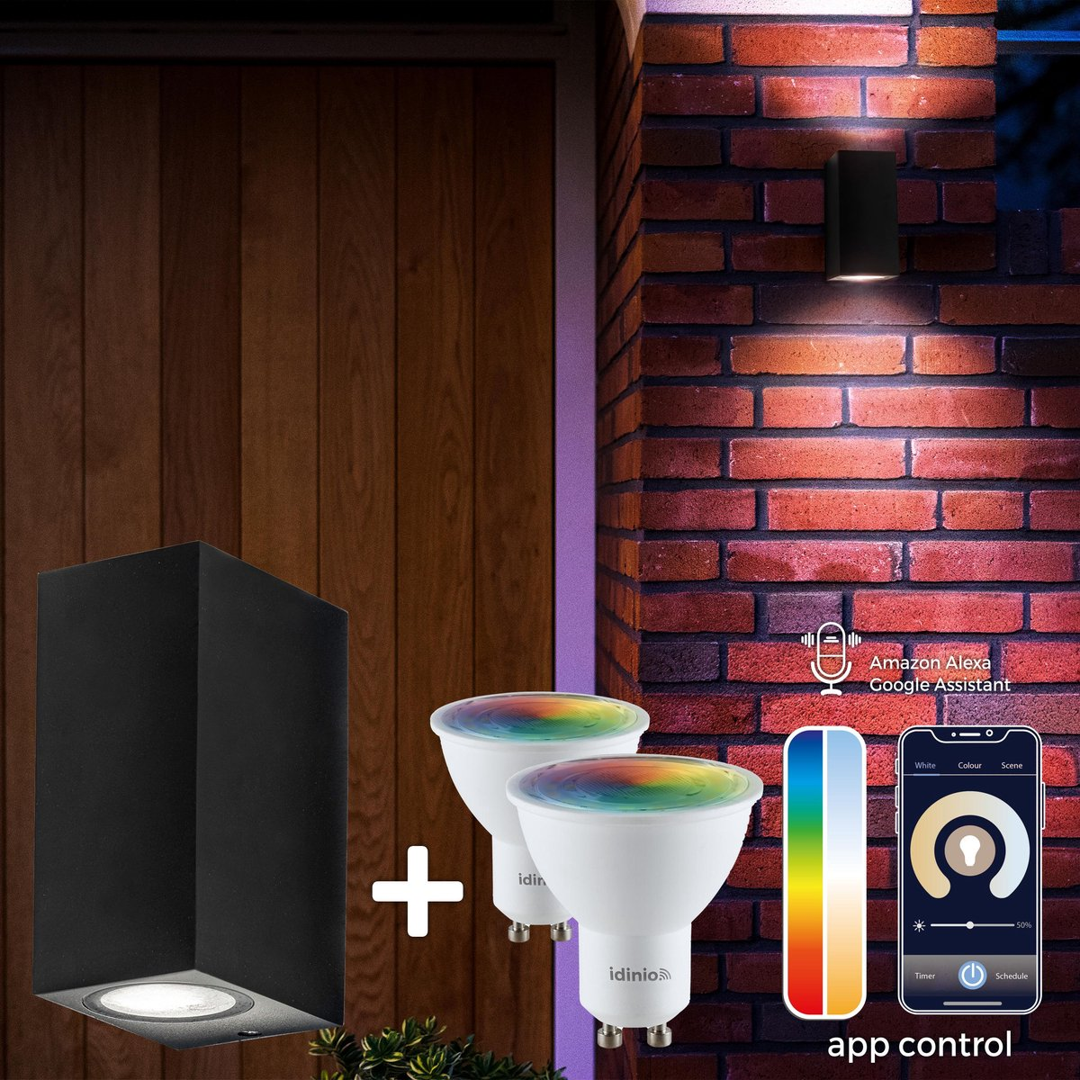 Proventa Slimme buitenlamp - Wandlamp Model R - White & Color - 1 x LED Muurlamp