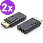 Set van 2 Displayport naar HDMI Adapter - Display port Male naar HDMI Female - Ondersteunt 4K/2K