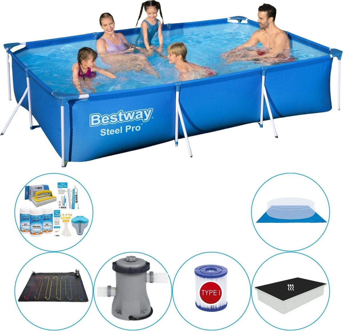 Bestway Steel Pro Rechthoekig Zwembad - 300 x 201 x 66 cm - Blauw - Inclusief Toebehoren