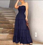MKL - Dames jurk - Boho - Lente en zomerjurk - Elegant Vlak donkerblauw rimpeling, strapless  - Casual Zomerjurk  -  Maxi Vintage - Sexy , effen Feestjurk / Strandjurk  - Maat S/M