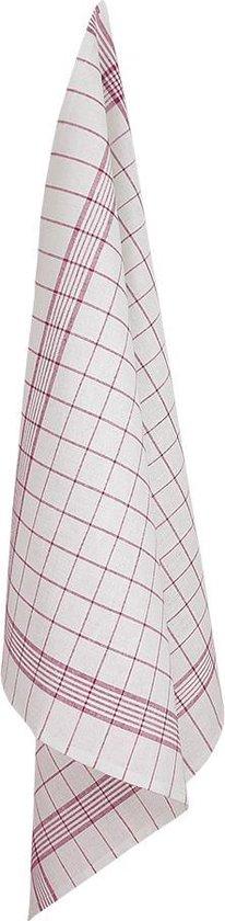 Glasdoeken, 4 Stuks, Wit met Rode Lijnen, 70x70cm, Treb Towels