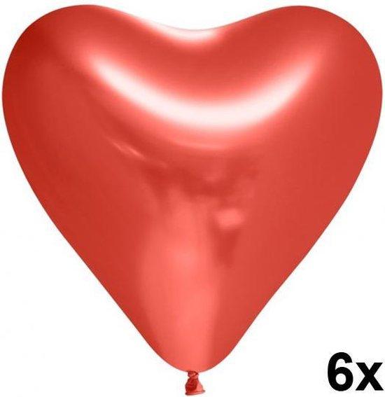 Chrome hart ballonnen Rood, 6 stuks, 30 cm