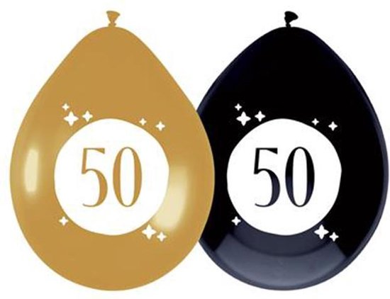 Ballonnen 50 jaar Festive Gold 6 stuks