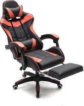Gamestoel met voetsteun Cyclone tieners - bureaustoel - racing gaming stoel - rood zwart