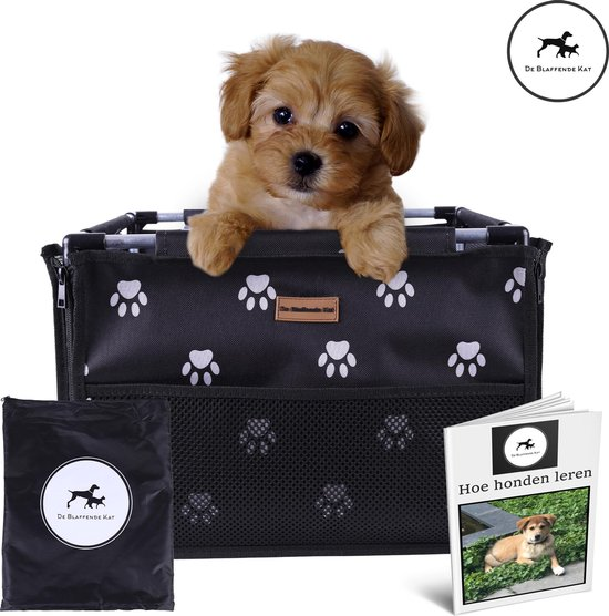 Vernieuwde Autostoel Hond Pootjespatroon - Inclusief gratis E-Book - Opvouwbare Hondenmand auto - Autobench voor hond - Hondenstoel auto - Geschikt voor kleine en middelgrote honden