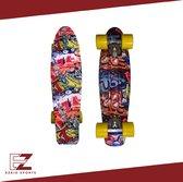 EZRIO SPORTS – Penny Board – Pennyboard – Skateboard – Long Board – Cruiser Skate Board – Penny Board voor Meisjes en Jongens – Custom Graffiti Print – 22 inch – Geel
