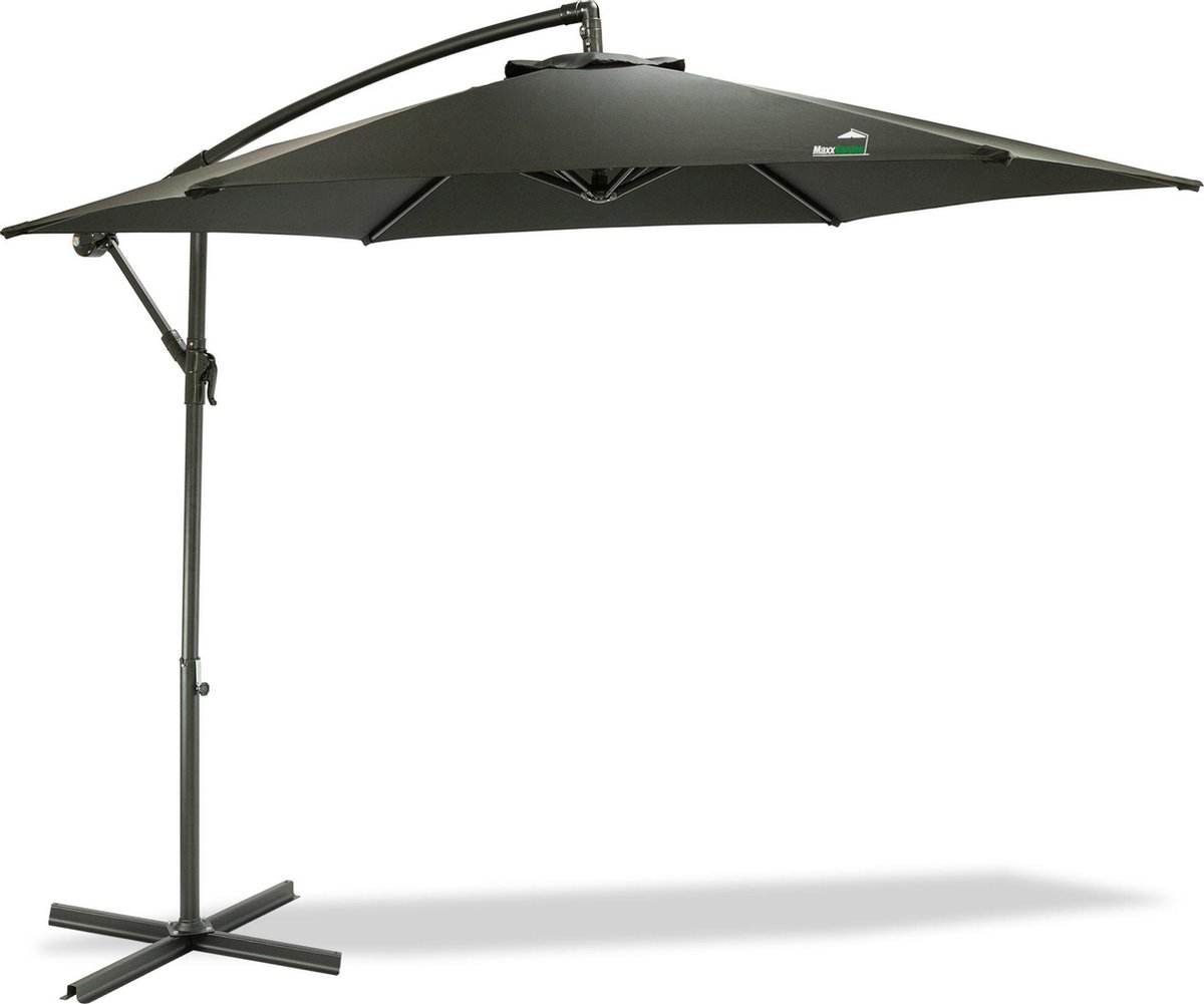 MaxxGarden Parasol - Zweefparasol - Ø300 cm - Frame royal grey - Zwart - Inc. parasolhoes