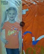 Kingsday T-shirt maat 122 / 128 oranje meisjesshirt - Koningsdag