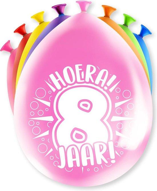 Ballonnen Hoera 8 jaar 8 stuks 30 cm
