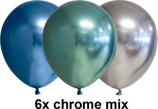 Chrome ballonnen, mix blauw / groen / zilver, 6 stuks, 30 cm