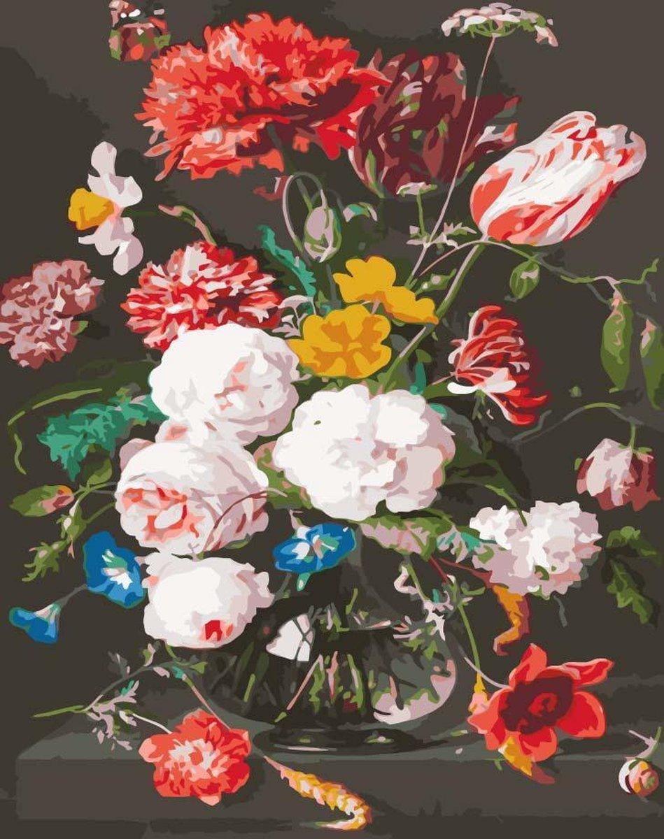 Schilderen Op Nummer Volwassenen - Painting by number - Bloem in vaas - Met Frame - 40x50 cm