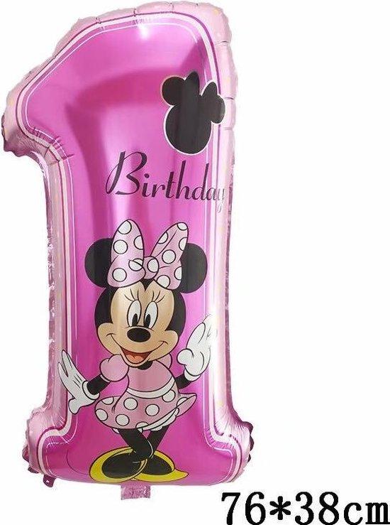 Disney Ballon Cijfer 1 Met Rietje,Helium ballon - Cijfer ballon - 1 jaar - Verjaardag - 76cm & Straw
