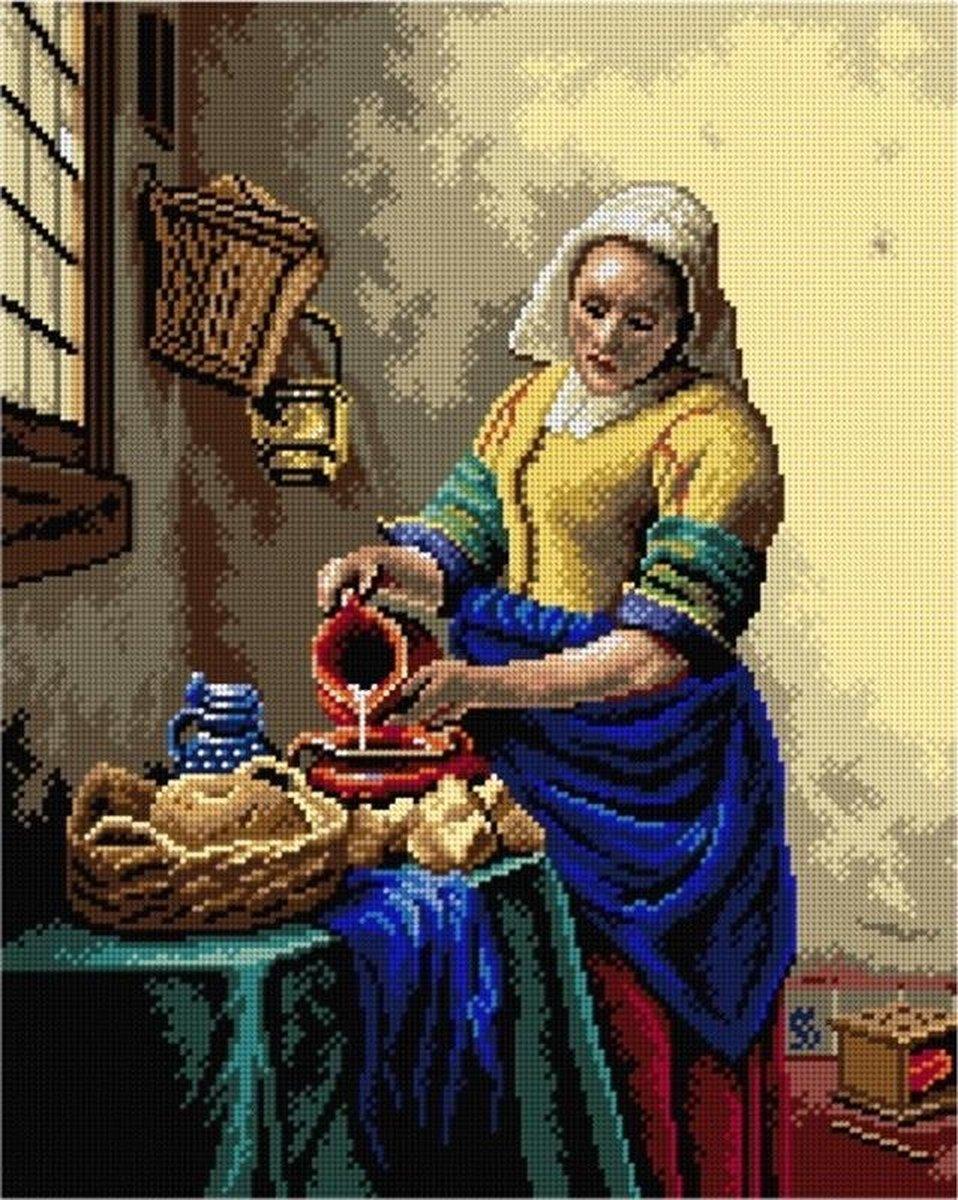 Borduurstramien after Johan Vermeer - HET MELKMEISJE - ORCHIDEA 40 x 50 (EXCLUSIEF GARENS)