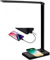 Gologi® - Bureaulamp LED - Dimbaar - Draadloos Opladen Voor Telefoon - Opvouwbaar – Smart Touch - Qi Technologie – Zwart