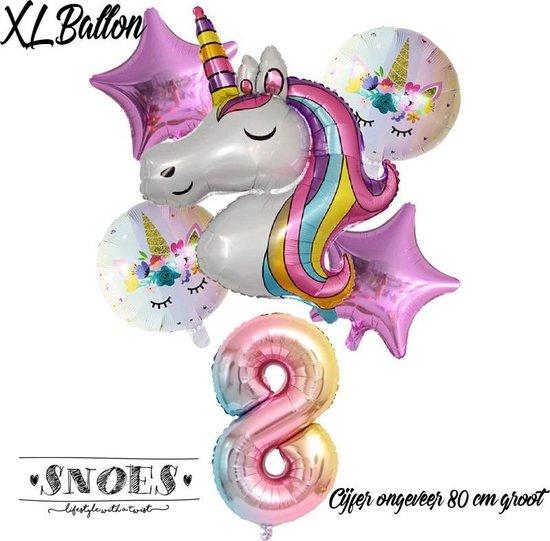 * Snoes * Unicorn * Eenhoorn * Set van 6 Ballonnen XL * Unicorn Nummer 8 * Achtste verjaardag * Hoera 8 Jaar * Birthday