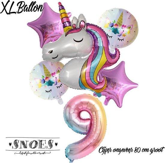 * Snoes * Unicorn * Eenhoorn * Set van 6 Ballonnen XL * Unicorn Nummer 9 * Negende verjaardag * Hoera 9 Jaar * Birthday