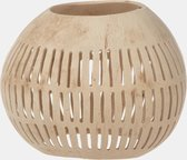 Unlimited Living - Waxinelichthouder - Kokosnoot - Streepjes - Naturel - ⌀ 12 cm