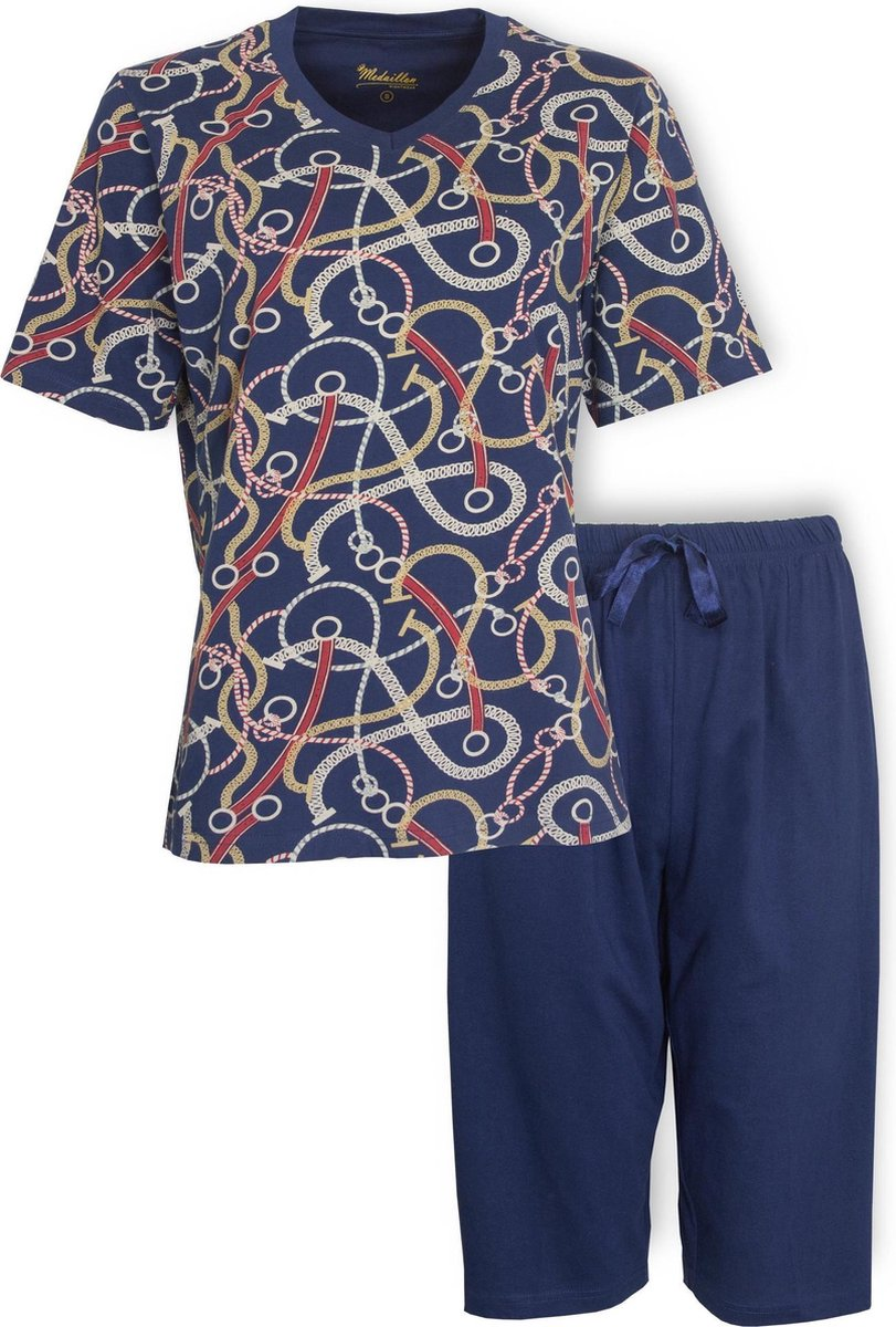 Medaillon Dames Pyjama Drie Kwart Broek Blauw MEPYD1002A Maten: XXL
