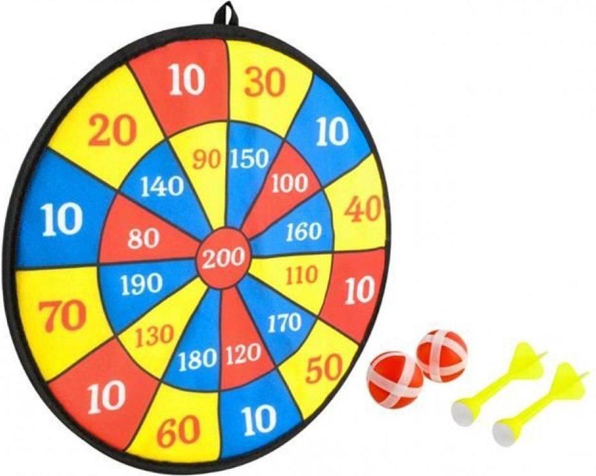 Dartboard 2 Balls 2 Darts 35,5cm - Dartboard - Darten - Plakbord - Bord - Speelgoed dartbord - Speelgoed - Plakbal - Bal - Pijltjes - Pijlen - NEW MODEL