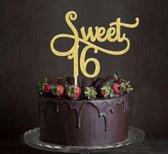 Taartdecoratie versiering| Taarttopper| Cake topper | Verjaardag| Sweet16 | Goud glitter|