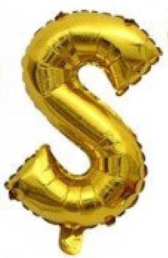 Folieballon / Letterballon Goud  - Letter S - 41cm
