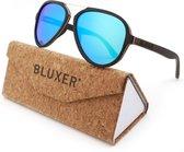 Bluxer® Zonnebril voor Heren en Dames Polaroid - Hippe Houten Zonnebril Gepolariseerd - UV400 Lens - Ebony Wood Gelamineerd - Ice Blue Lens