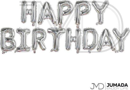 Happy Birthday Folie Ballon - Slinger - Feestversiering - Decoratie - Zilver